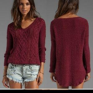 Free people cross my heart sweater red knit xs